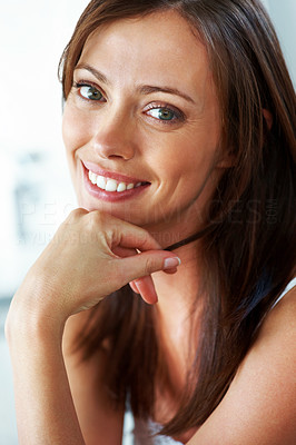Buy stock photo Closeup portrait of a gorgeous young lady with hand on her chin