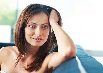 Buy stock photo Portrait of a pretty young lady sitting on sofa at home - Indoor