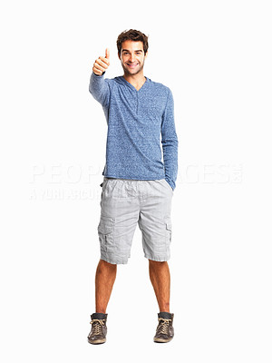 Buy stock photo Full length of happy man giving you thumbs up on white background