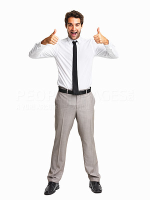 Buy stock photo Excited business man with two thumbs up on white background