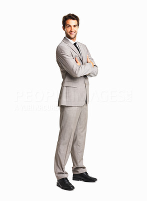 Buy stock photo Full length of a successful business man with hands folded on white background