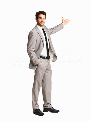 Buy stock photo Happy business man giving a presentation on white background