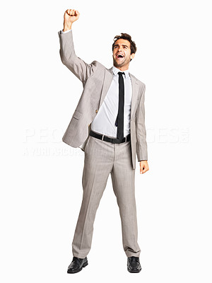 Buy stock photo Full length of successful business man gesturing with fist on white background