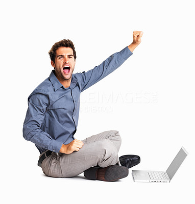 Buy stock photo Business man shouting while sitting in front of laptop on white background