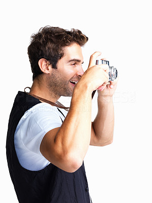 Buy stock photo Side view of man taking photo