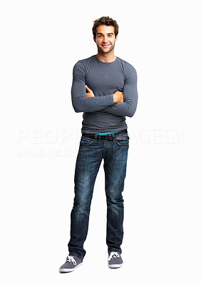 Buy stock photo Full length portrait of trendy man standing with arms crossed