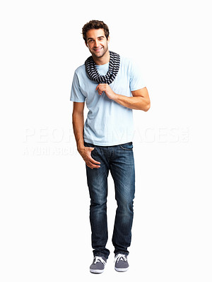 Buy stock photo Happy man showing off his scarf