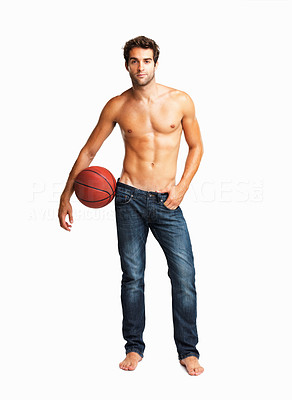 Buy stock photo Sexy shirtless man posing casually with a basketball on his hip, isolated on white - copyspace