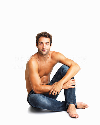 Buy stock photo Casual muscular shirtless man sitting on white background