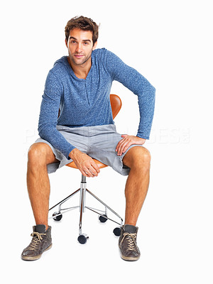 Buy stock photo Charming man sitting in chair listening