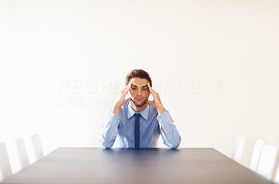 Buy stock photo Portrait of depressed business man waiting in board room meeting