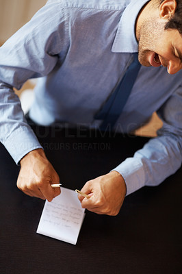 Buy stock photo Portrait of angry business man breaking pencil by hands