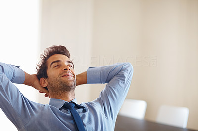 Buy stock photo Businessman with hands behind head day dreaming