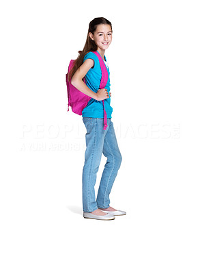 Buy stock photo Portrait of a sweet small girl going to school against white background