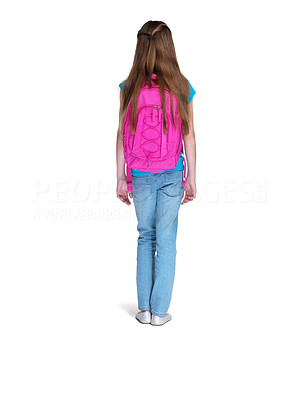 Buy stock photo Rear view of a little girl standing with schoolbag against white background