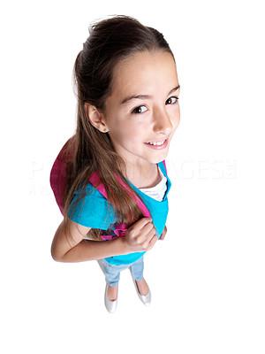 Buy stock photo Portrait of an adorable little girl standing with schoolbag against white background