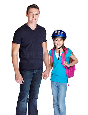 Buy stock photo Portrait of a cute young girl going to school with her father against white background
