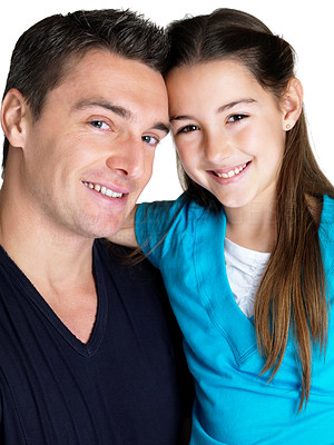 Buy stock photo Closeup portrait of a happy young man and his daughter smiling together on white background