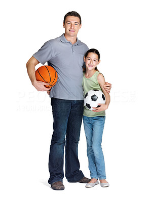 Buy stock photo Portrait of a happy young man standing with his daughter holding ball over white background