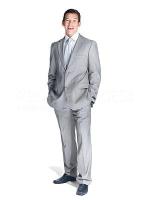Buy stock photo Full length portrait of a successful young male entrepreneur standing against white background