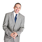 Happy young male entrepreneur smiling on white