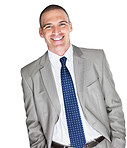 Happy young male business executive smiling on white