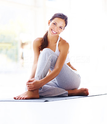 Buy stock photo Portrait of beautiful young woman relaxing after doing exercise