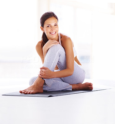 Buy stock photo Portrait of cheerful young female resting after workout