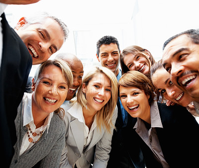 Buy stock photo Group of multi ethnic business people laughing and smiling