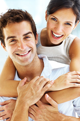 Buy stock photo Closeup portrait of young happy man and woman couple in love