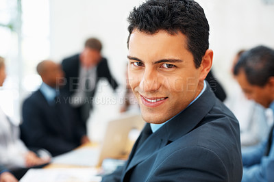 Buy stock photo Closeup of executive with business people in background