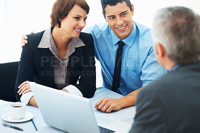 Buy stock photo Focus on couple talking to mature business man