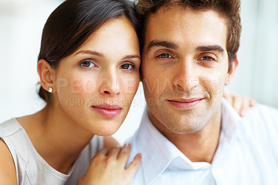 Buy stock photo Closeup portrait of smart young man and woman together looking at you