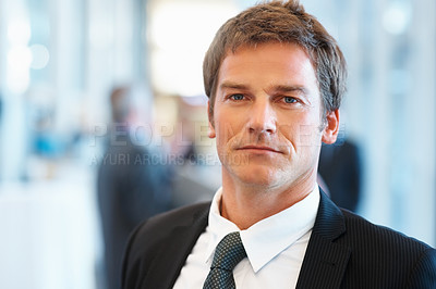 Buy stock photo Closeup of smart middle aged business man with colleagues in background