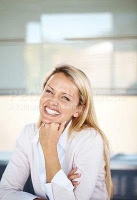 Buy stock photo Portrait of a beautiful young businesswoman sitting relax and smiling