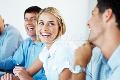 Buy stock photo Portrait of a team of business associates enjoying their office break