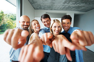 Buy stock photo Portrait of excited young business people pointing at you