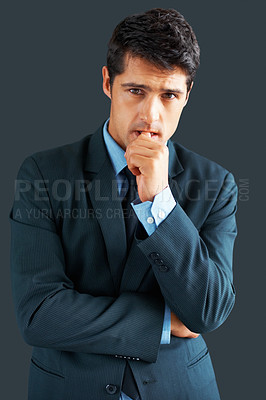 Buy stock photo Executive standing with concerned look