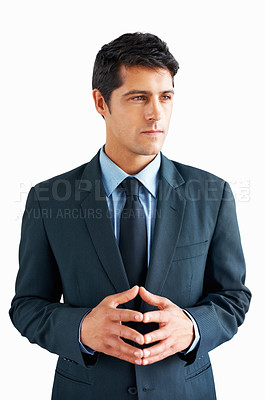 Buy stock photo Serious executive looking into distance