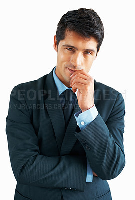 Buy stock photo Executive standing with one hand up to mouth