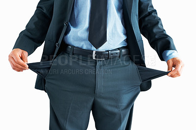 Buy stock photo Mid section of professional man holding out pockets