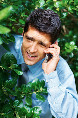 Buy stock photo Businessman hiding in bushes while on cell phone