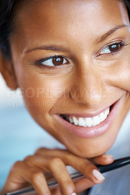 Buy stock photo Closeup view of pretty woman holding pen