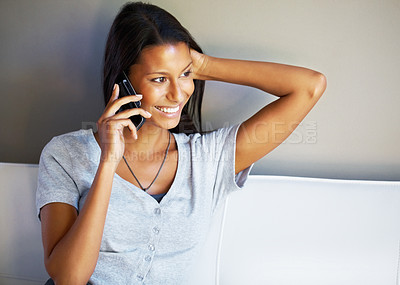 Buy stock photo Closeup of woman having conversation on cell phone