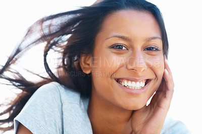 Buy stock photo Closeup of pretty woman smiling with windswept hair