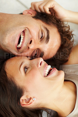 Buy stock photo Closeup of happy young couple on floor smiling together
