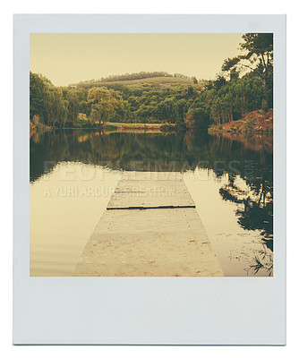 Buy stock photo A jetty leading to a lake with nobody around