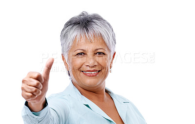 Buy stock photo Studio shot of a mature woman giving the thumbs up isolated on white