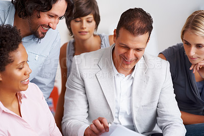 Buy stock photo Business people working together on project