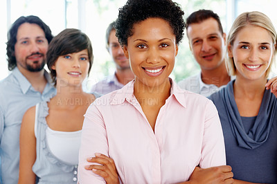 Buy stock photo Confident female leader with her supporting team at office
